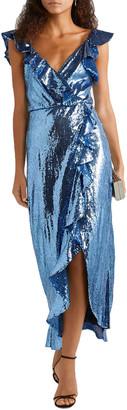 Monique Lhuillier Wrap-effect Ruffle-trimmed Sequined Crepe Midi Dress