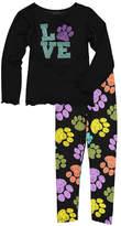 Beary Basics Black 'Love' Paw Print Tee & Abstract Leggings - Toddler & Girls