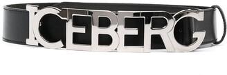 Iceberg Logo-Letter Leather Belt