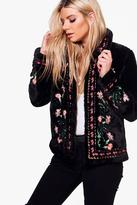 Boohoo Rosie Embroidered Faux Fur Coat