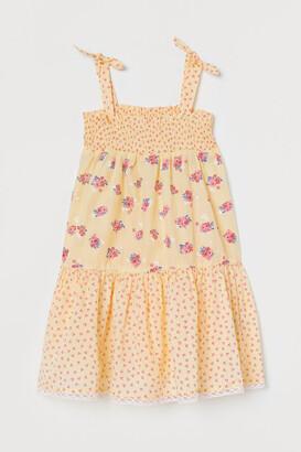 H&M Smocked Cotton Dress - Yellow