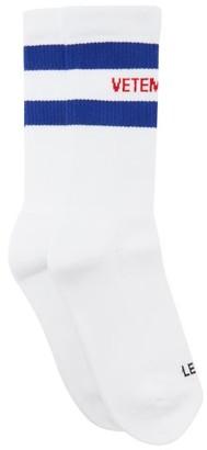 Vetements Striped Logo-jacquard Cotton-blend Socks - White