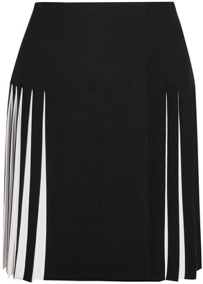 Alaia Pleated Two-tone Knitted Mini Skirt