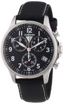 Junkers 68902's Watch Quartz Chronograph Stopwatch/Luminous hands-Black Leather Strap