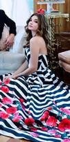 Mac Duggal Geometric Striped Rose Print Ball Gown