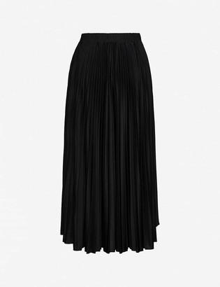 Valentino Logo-print pleated woven midi skirt