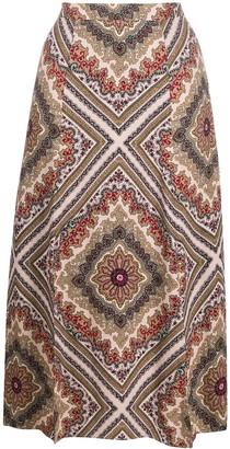 MICHAEL Michael Kors Geometric-Print Midi Skirt