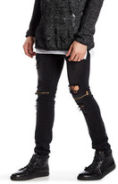 Ron Tomson Distressed Patch Zipper Jean