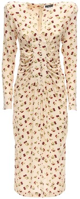 Rotate by Birger Christensen Heather Printed Crepe Midi Dress