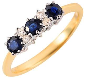 Trilogy Ivy Gems 9ct Yellow Gold and White Gold Light Sapphire and Diamond Ring - Size L