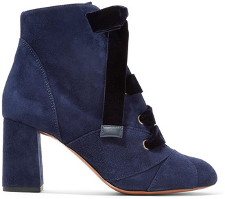 Chloé Graphic Leaves Lace-up Suede Ankle Boots