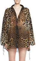 Saint Laurent Leopard-Print Long-Sleeve Peasant Blouse