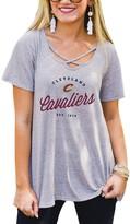 Unbranded Women's Gray Cleveland Cavaliers Criss Cross Front Tri-Blend T-Shirt