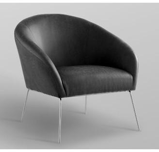 "Nicole Miller Achilles 31"" W Faux Leather Barrel Chair Fabric: Charcoal Faux Leather, Leg Color: Silver"
