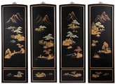Oriental Furniture Set of 4 Ming Black Lacquer Wall Plaques