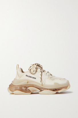 Balenciaga Triple S Clear Sole Logo-embroidered Leather, Nubuck And Mesh Sneakers - Off-white