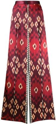 Forte Forte Geometric Print Wide-Leg Silk Trousers