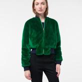 Paul Smith Women's Green Faux-Fur Bomber Jacket