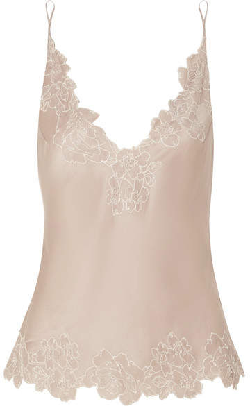 Carine Gilson Chantilly Lace-trimmed Silk-satin Camisole - Taupe