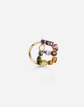 Dolce & Gabbana Rainbow Alphabet B 18 Kt Yellow Ring With Multicolor Fine Gems