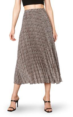BB Dakota Wild Out Animal Print Pleated High/Low Skirt