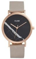 Cluse Women's 'La Roche' Leather Strap Marble Watch, 38Mm