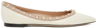 Valentino White Garavani Rockstud Patent Ballerina Flats