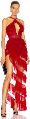 AADNEVIK Asymmetric Ruffle Bustier Dress in Red | FWRD