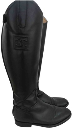 Chanel Black Leather Boots