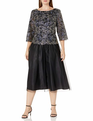 Alex Evenings Women's Plus Size Tea-Length Lace Mock Dress