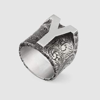 "Gucci Y"" letter ring in silver"
