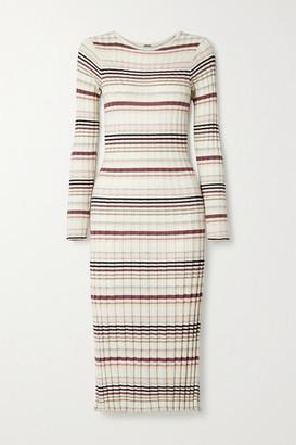 Adam Lippes Striped Ribbed Silk And Cashmere-blend Midi Dress - White
