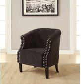 Linon Jerome Shadow Gray Modern Club Chair with Nail Head Trim