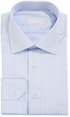 Stefano Ricci Men's Asti Striped Sport Shirt, Light Blue/Red