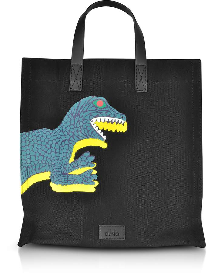 Paul Smith Black Dino Printed Canvas Tote Bag with Leather Handles