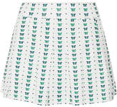 Tory Sport Pleated Printed Stretch Tennis Skirt - White