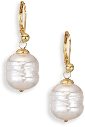 Majorica 12MM White Baroque Man-Made Pearl Drop Earrings