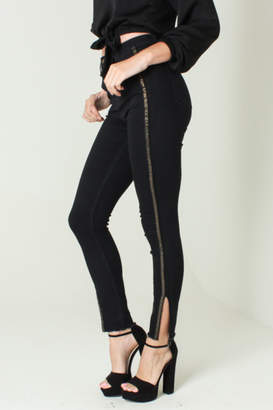 Funky Soul Midrise Black jean with gold side line