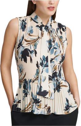 DKNY Petite Pleated Floral-Print Sleeveless Blouse