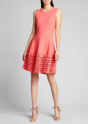 Lela Rose Sleeveless Pleated Hem Flare Dress
