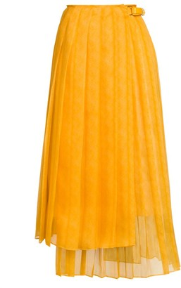 Fendi Feathered Organza Asymmetric Pleated Skirt