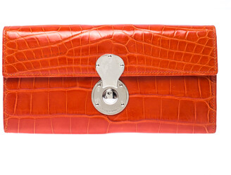 Ralph Lauren Orange Crocodile Ricky Continental Wallet