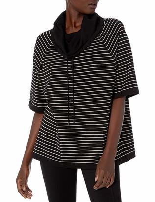 Anne Klein Women's Striped Raglan Sleeve Cowl Neck Pullover Sweater