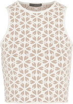 Alexander McQueen Cropped jacquard-knit top