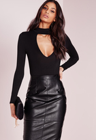 Missguided Petite Choker Neck Plunge Bodysuit Black