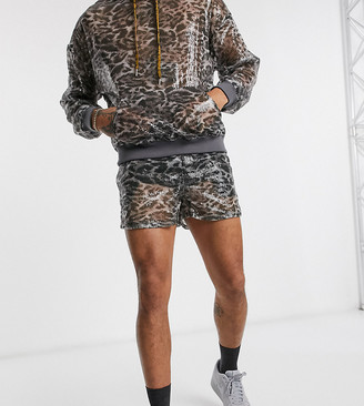 Reclaimed Vintage inspired animal sequin print shorts co-ord
