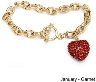 PalmBeach Jewelry Crystal Heart Charm Birthstone Toggle Bracelet in Yellow Gold Tone Color Fun