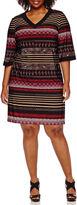 Studio 1 Elbow Sleeve Placed Stripe Sheath Dress - Plus