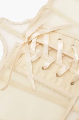 boohoo Plus Structured Cup Detail Mesh Corset Belt