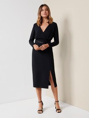Forever New Brigid Belted Workwear Dress - Black - 10
